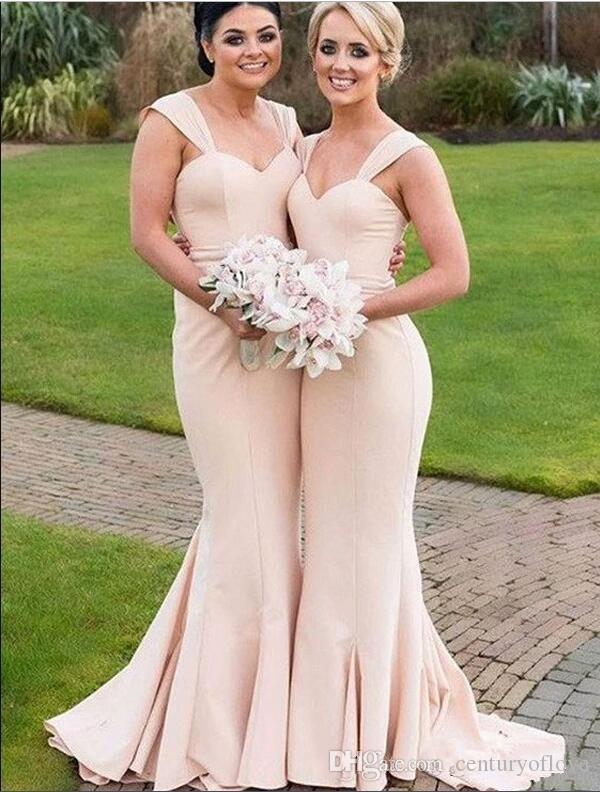 Простой дизайн Русалка Милая Платья невесты Sweep Поезд шифон Формальные свадебные платья гостей
