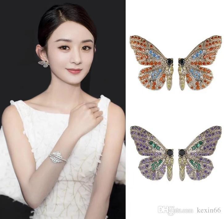 2019 nuovo stile di lusso di alta qualità S925 argento ago europeo e americano d'epoca di lusso orecchini farfalla piena di zirconio colore