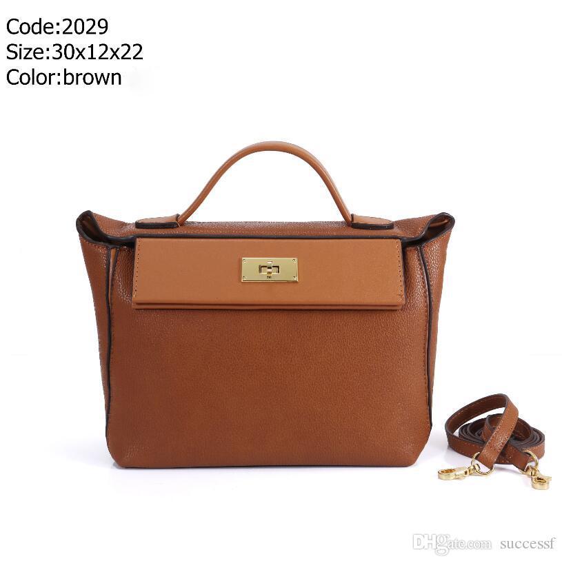 En çok satan Marka Moda Kadınlar Büyük kapasiteli çanta Tasarım Tote çanta Kadın Debriyaj çanta Kızlar kahverengi Hakiki deri Omuz çantası