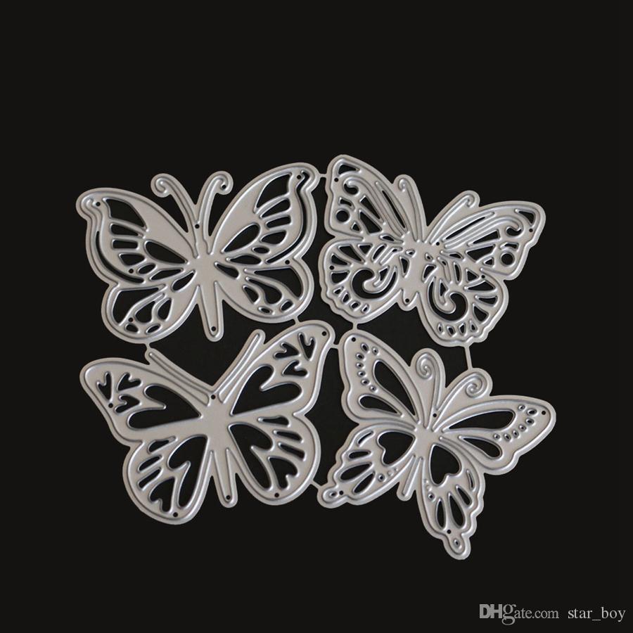 4pcs / Lot borboleta de corte de metal fieiras de DIY Scrapbooking Embossing Papel Cartões Fazendo Decor Artesanato Stempels Met morre Troquel Flore