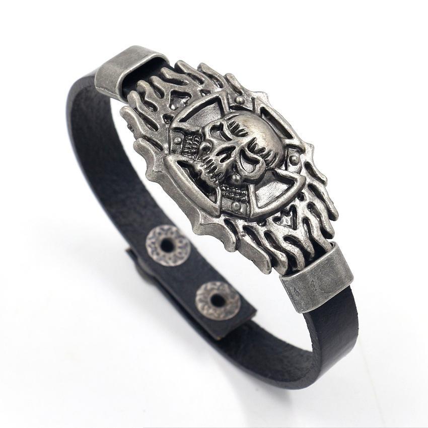 Monili del regalo degli uomini del cuoio genuino di modo cranio punk uomo BRACCIALE cinturino roccia scheletro braccialetto per le donne