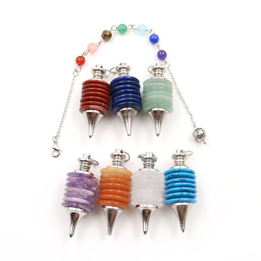 5 piezas de plata al por mayor de ruedas plateado de la vida de muchos colores cuarzo péndulo colgante con bolas de piedra Cadena cura Chakra joyería