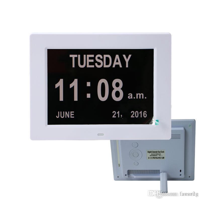 3 Alarm Seçenekleri ile 8 inç Dijital Takvim Çalar Saat, Ekstra Büyük Kısaltılmamış Gün Ayı Renkli Ekran Ayarları