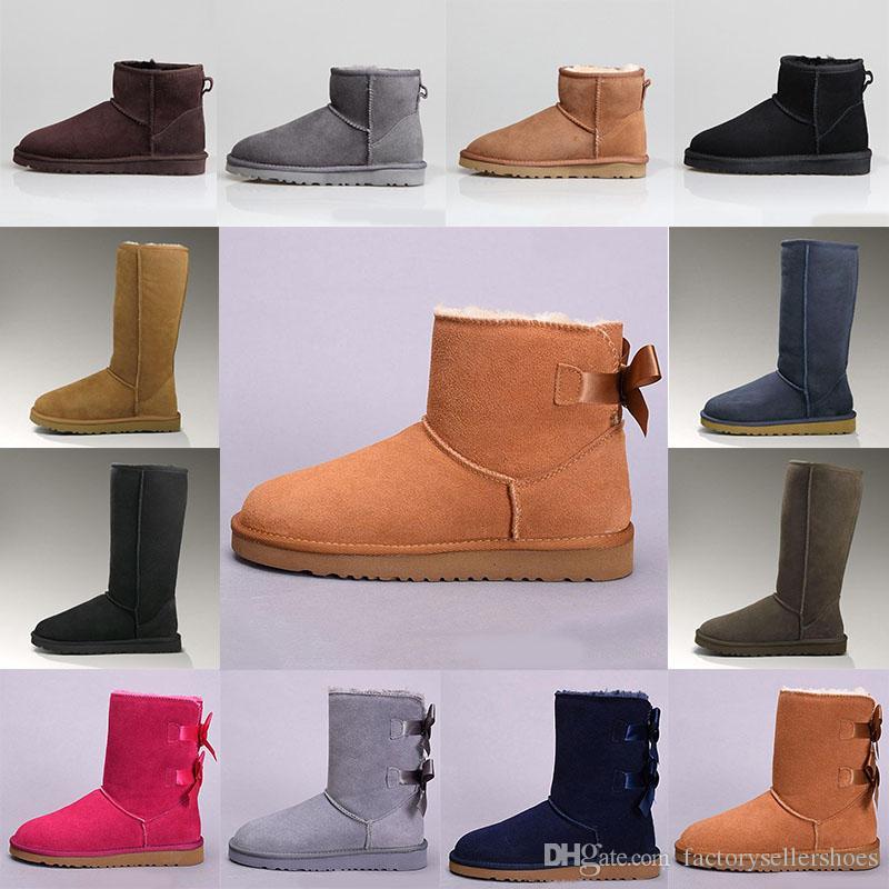 جديد 2021 كستناء نصف الكاحل أحذية النساء الفتيات الثلج التمهيد المرأة البسيطة bailey القوس الثاني بروش فئة قصيرة ث أحذية الشتاء الكلاسيكية