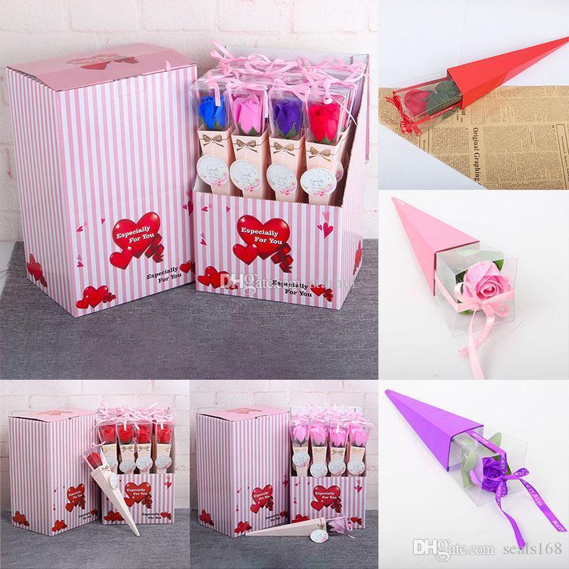 12pcs / lot de las flores artificiales Jabón Rose con la cinta de plástico paquete de la caja de jabón de flores románticas para DHL WX9-1 partido de la boda del día de San Valentín