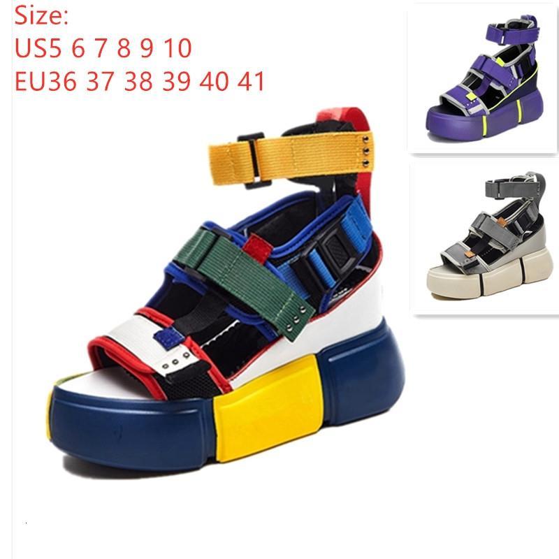 SWONCO Frauen Sandalen 2019 Sommer-Absatz-Sandalen für Damen klumpigen Sandelholz-Frauen-Keil-Plattform-Schuh-beiläufigen Sommer-Sandelholz-CJ191116