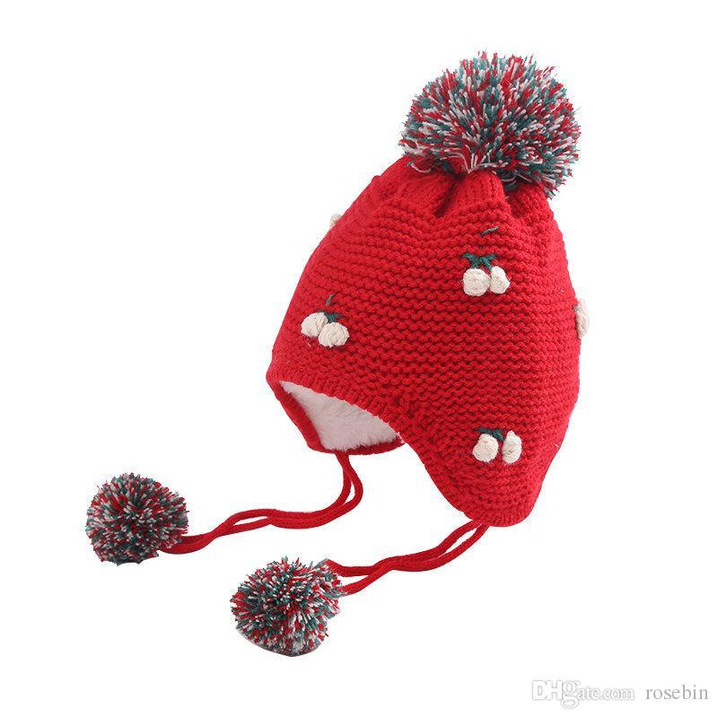 2020 bebek kış yün şapka 3-6-12 ay kız bebek sevimli 1 yaşındaki artı kadife sıcak şapka