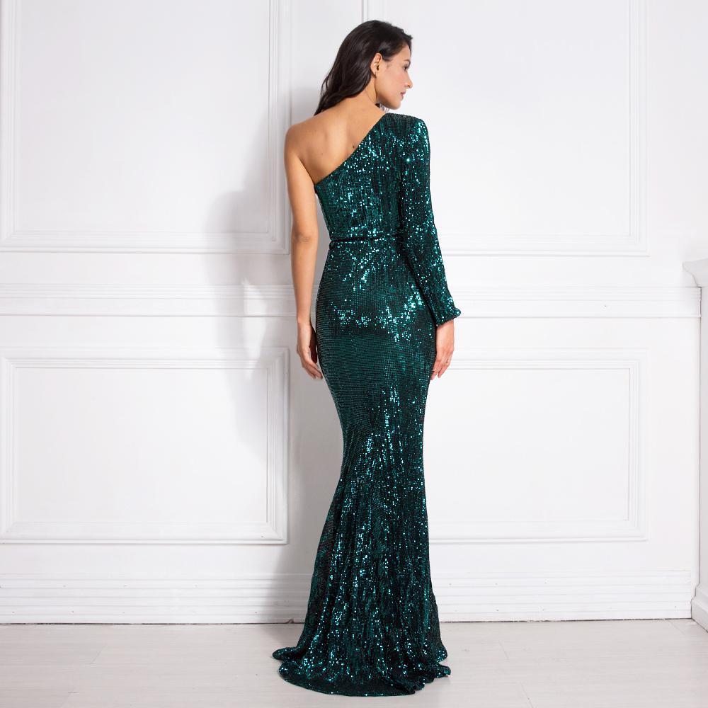 Une épaule luxe robe Stretchy Silver Sequin Nuit Parti Bodycon parole longueur Backless Tight Femme Robe de sirène MX200506
