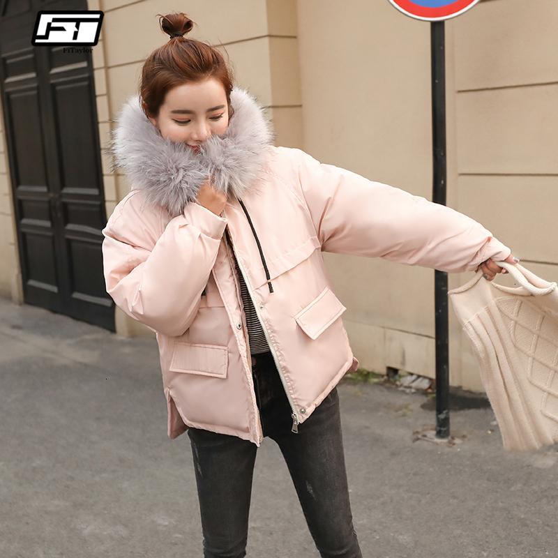 Fitaylor Faux Fur Collar Short Parkas Loose Down Cotton Coats Winter Women Hooded Jackets Pink Black Burgundy Snow OutwearMX190907