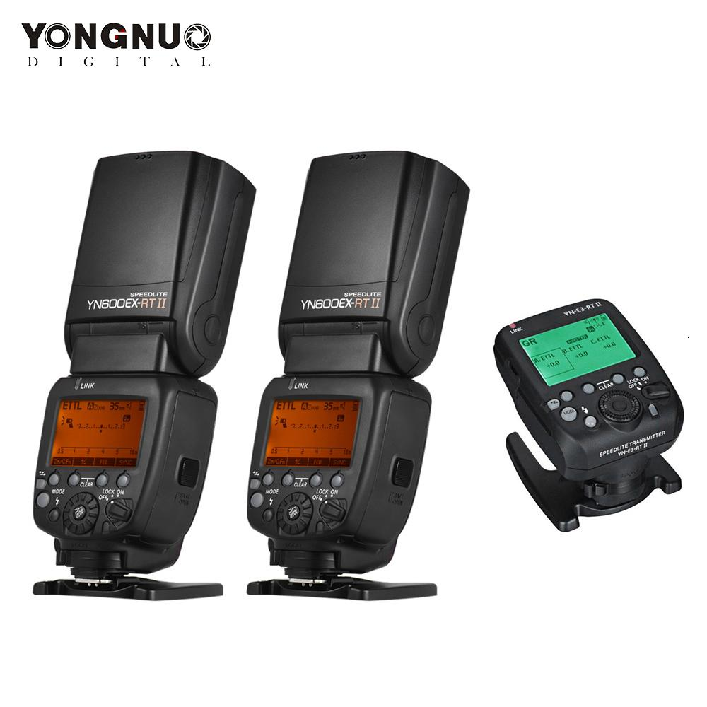 2PCS YONGNUO YN600EX-RT II 2.4G اللاسلكية 1 / 8000S HSS TTL ماستر فلاش Speedlite + 1PC YN-E3-RT II مشغل فلاش لكاميرات كانون