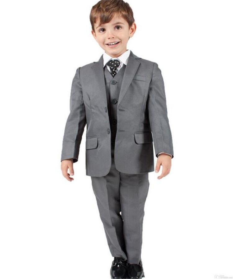 Gray Baby Boy Suits Christening Baptism 3 Piece Notched Lapel Boys Wedding Suit Boys Formal Wear