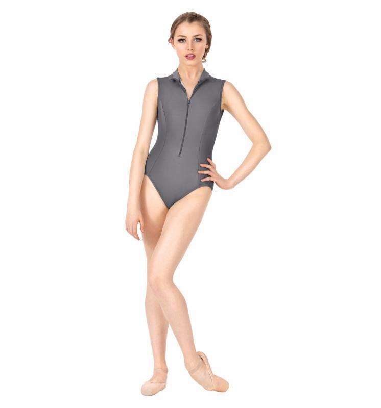 Bühnenabzug Icostumes Frauen Grau Tank Gymnastik Trikot Zip Front Lycra Turtheneck Sleeveless Dance Trikots Spandex Ballett