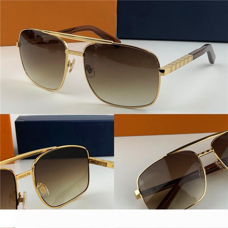 новые моды классические солнцезащитные очки Attitude Солнцезащитные очки золотой раме квадратный металлический каркас стиль винтаж открытый дизайн классической модели 0259