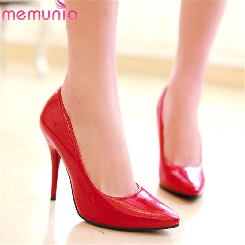 MEMUNIA 2019 больших размеров 48 женщин насосы ПУ острым носом весна лето один обувь сексуальный тонкий высокая высокие каблуки вечеринку свадебные туфли женщина S200401