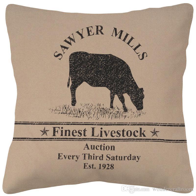 Estilo retro de la vendimia arte de la granja de aves de corral fundas de cojines vaca cerdo Cojín al aire libre almohadilla de tiro del grueso del caso de la tela de algodón de lino