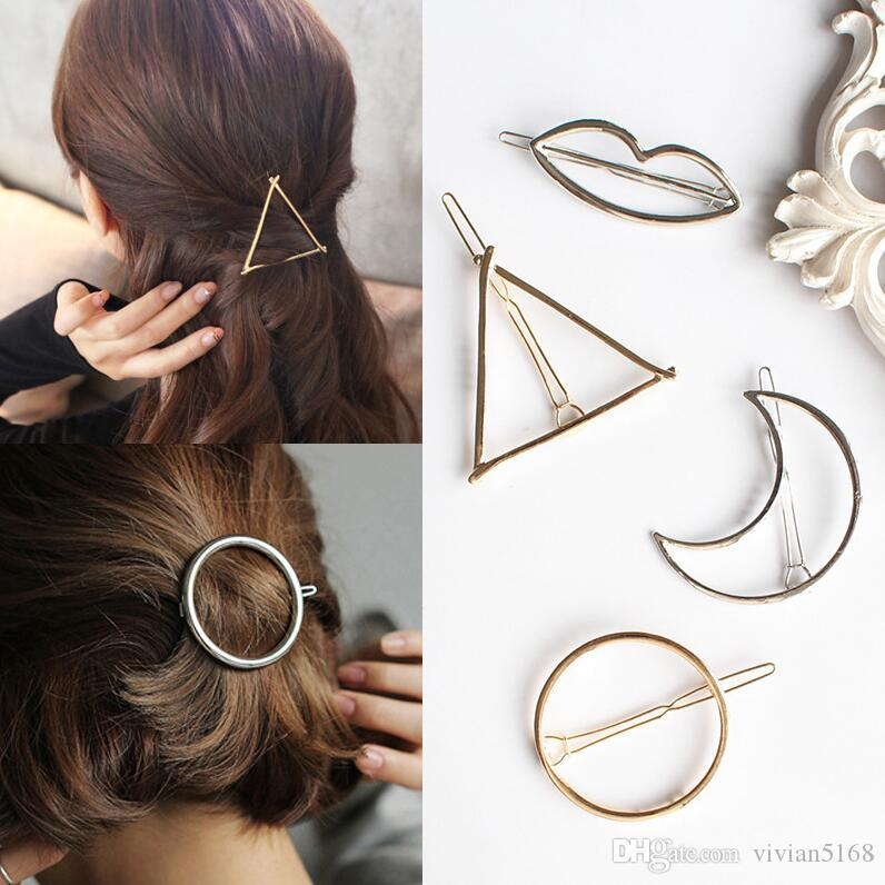 Feather Circle Triangle Butterfly Moon Shape Metal Hairpins Geometry Hair Clip