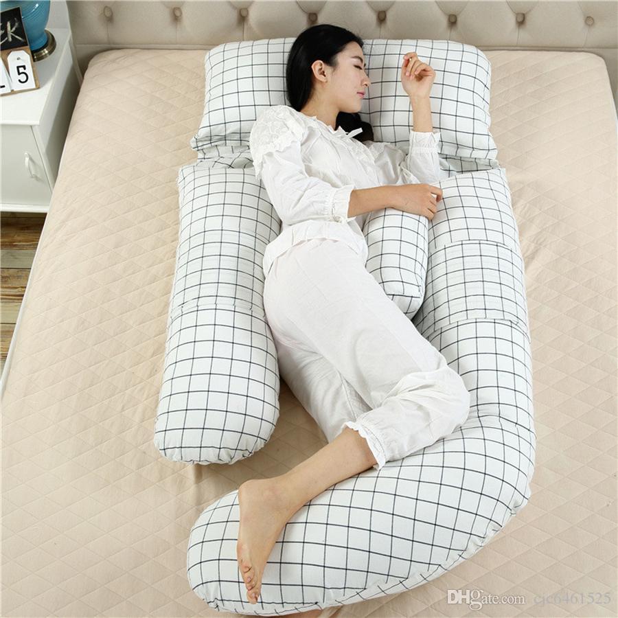 Cuerpo completo de 60 pulgadas de maternidad almohadas G Forma embarazo almohada extraíble soporte de la cubierta de algodón para mujeres o dolor embarazadas o que amamantan Sufrió