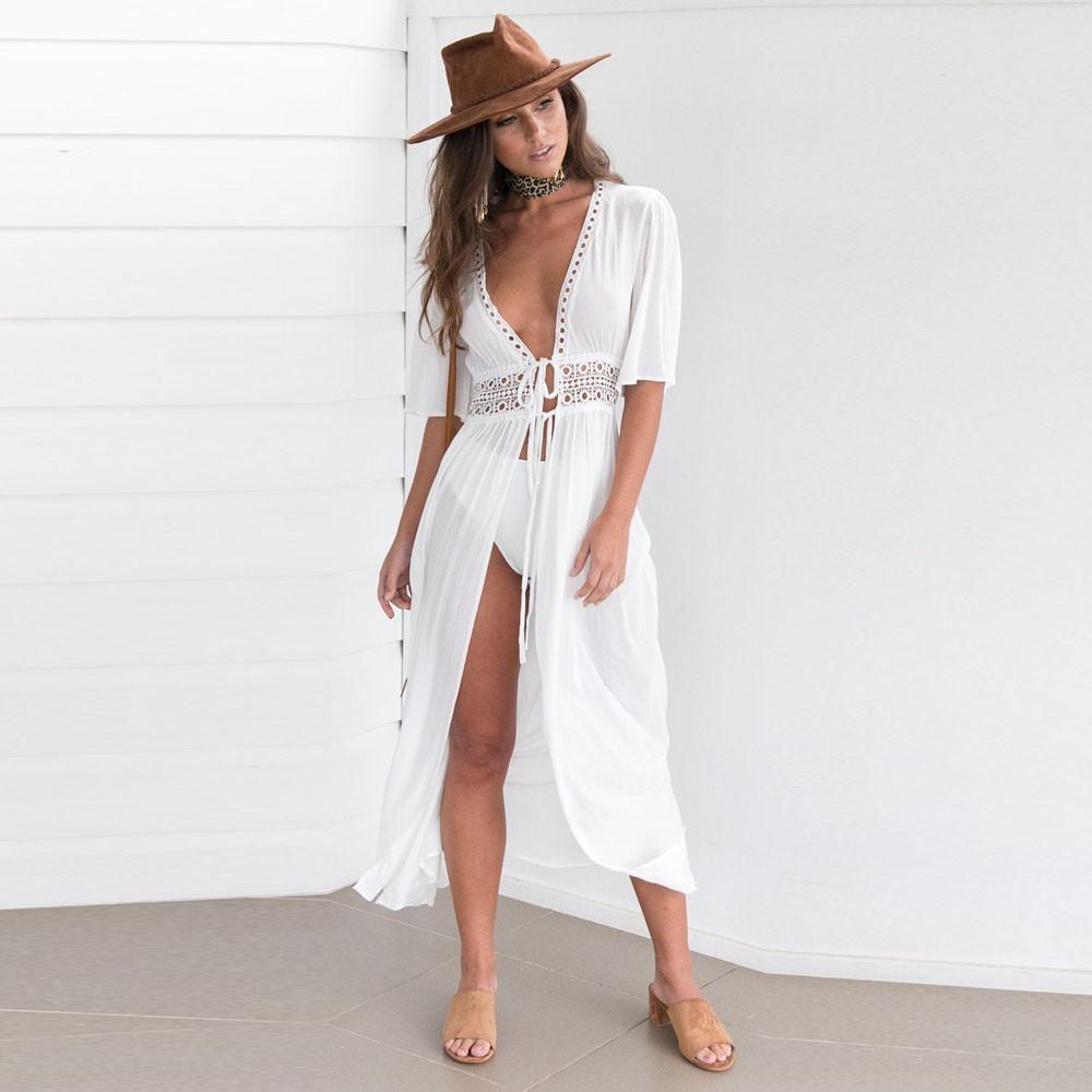 Badeanzug-Vertuschung-Frauen-reizvolles Chiffon- lange Kleid Fest Strand Cardigan-Badeanzug-Frauen-Bikini-Cardigan-Strand-Badeanzug-Kleid