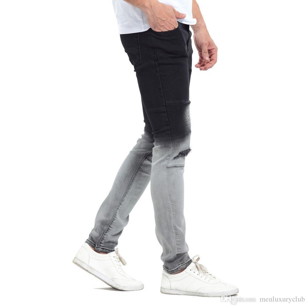 Gradatient Couleur Jeans Hommes stylisés Couleur Noir Blanc Patchwork Washed Jeans Crayon Pantalons