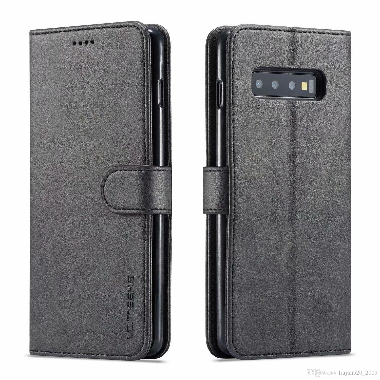 LC.IMEEKEKE Funda de cuero para Samsung Galaxy S10 S9 S8 Plus S10E 5G S20 ULTRA S21 Nota 8 9 10 20 Tapa de teléfono Tarjeta de billetera Slot