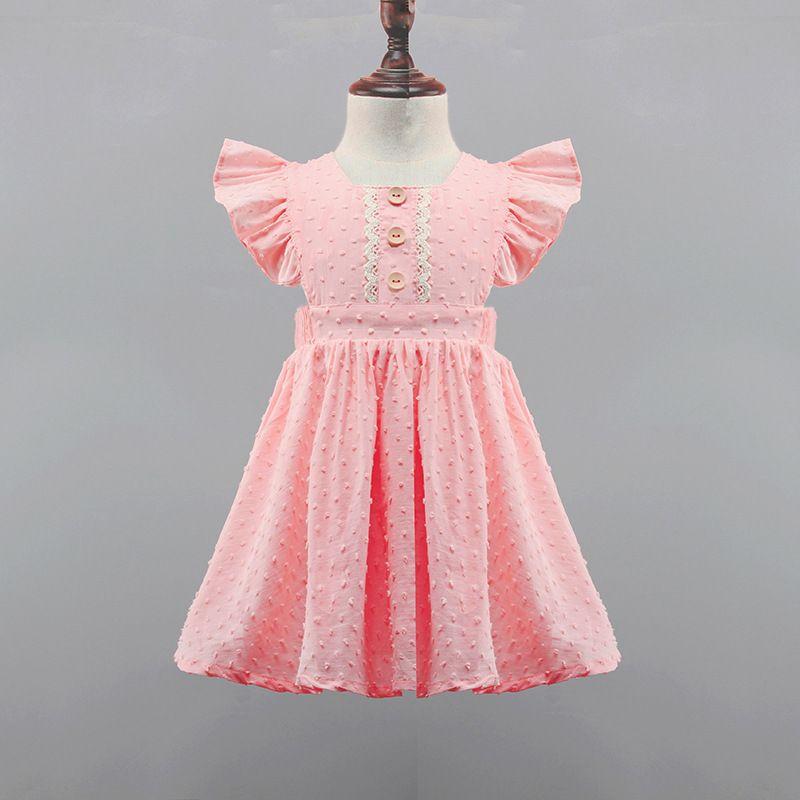 طفل بنات فستان زهري الصيف للأطفال مطوي تنورة أكمام زهرة طباعة زر فساتين أزياء الأطفال الملابس اللباس