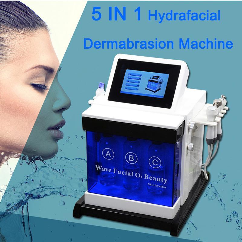 Taşınabilir 5'TEKİ 1 Hydrafacial Su Peel Mikrodermabrazyon Hidro Dermabrazyon Yüz Microcurrent Yüz Germe Ultrasonik Cilt Bakımı Makinesi