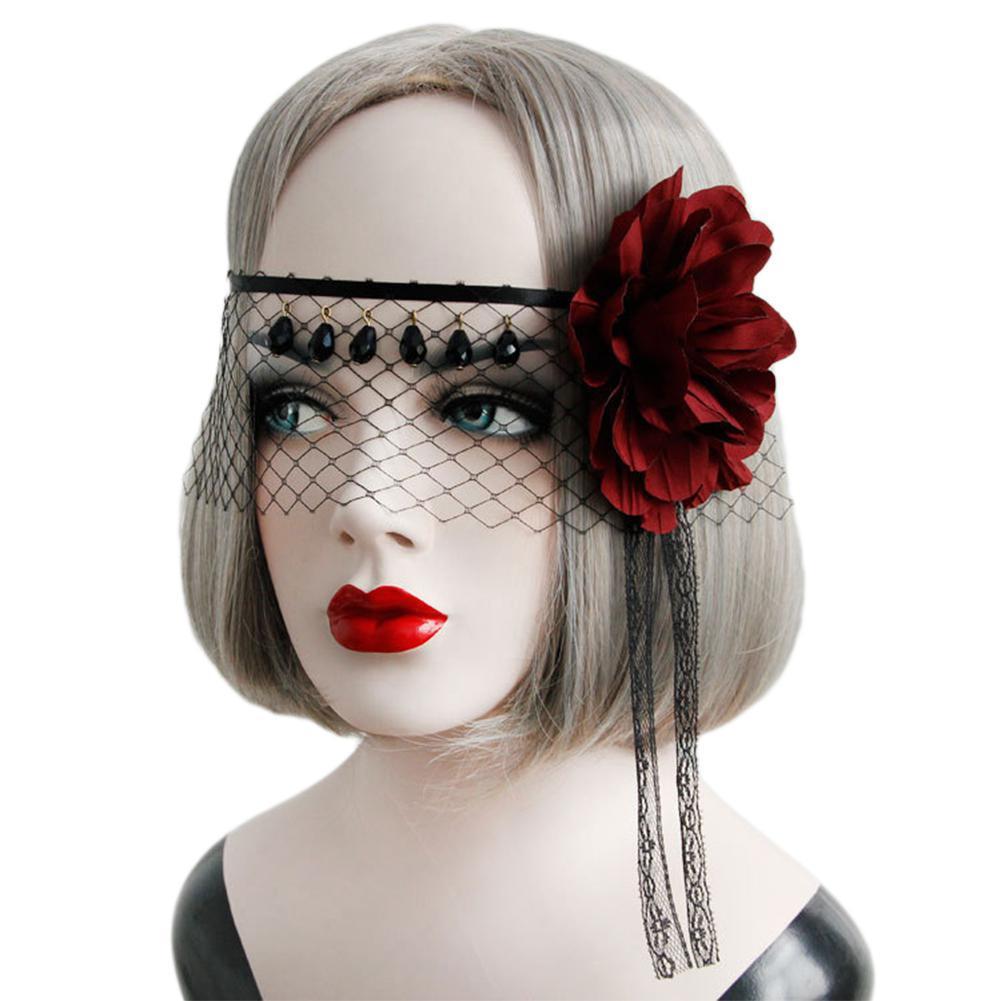 mrwonder Halloween Femmes Black Lace Rouge Fleur Mesh Veil Eye Masque Bandeau pour les Fêtes Mascarade Costume