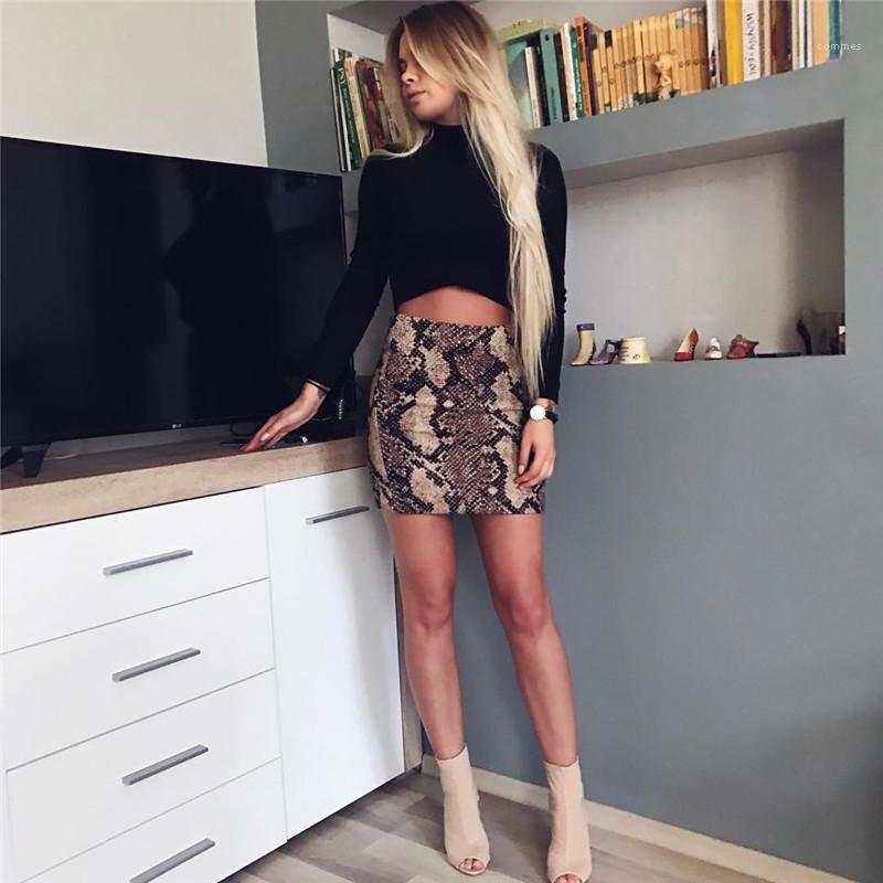 Женские Дизайнерские Юбки Из Змеиной Кожи С Принтом Модные Юбки Натурального Цвета Сексуальные Короткие Юбки A-Line Повседневная Женская Одежда