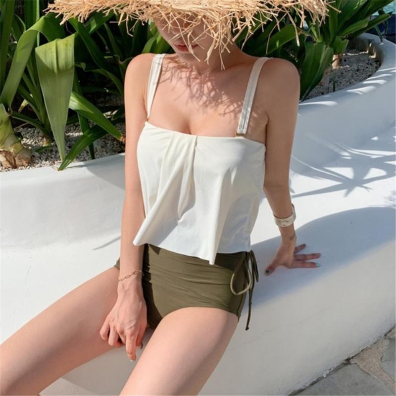 Ruffle Bikini Donna Solid Swimwear Corea stile costume da bagno a vita alta Biquini Bassiera Bikini Push Up costume da bagno Beachwear Pad