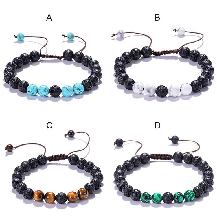 Factory direct sale natural stone bracelet in 2021, volcanic lava stone, tiger eye stone Adjustable Bracelet