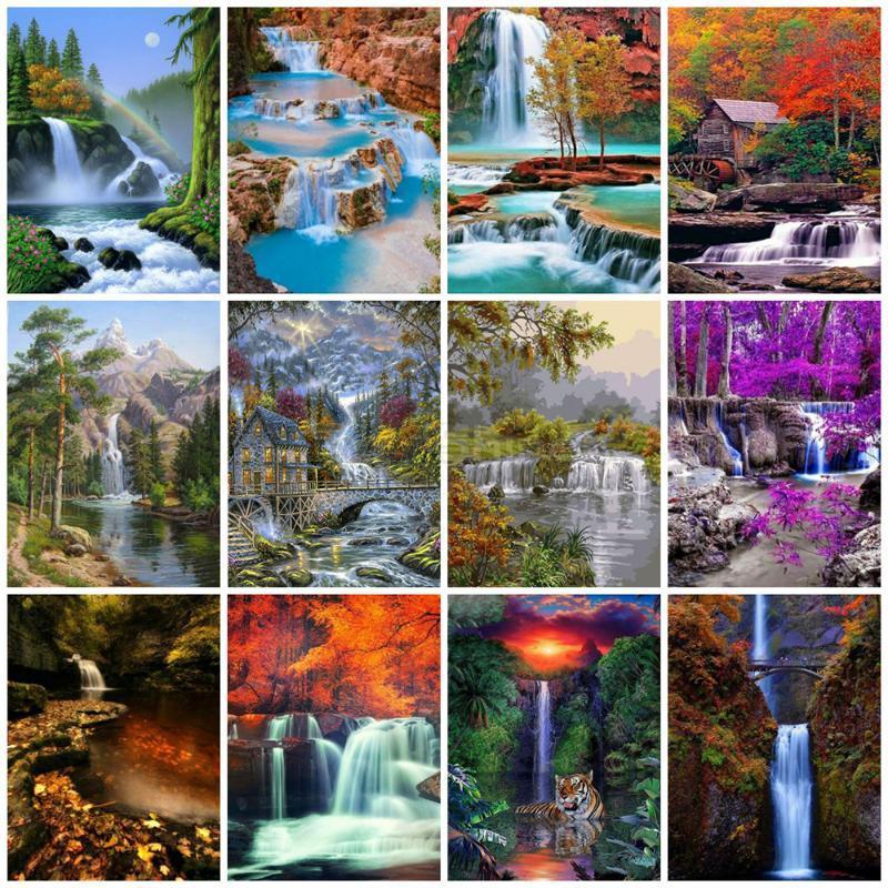Diamant peinture de paysage Strass 5D diamant Broderie Waterfall Point de croix de perles Image Kits Handwork cadeau