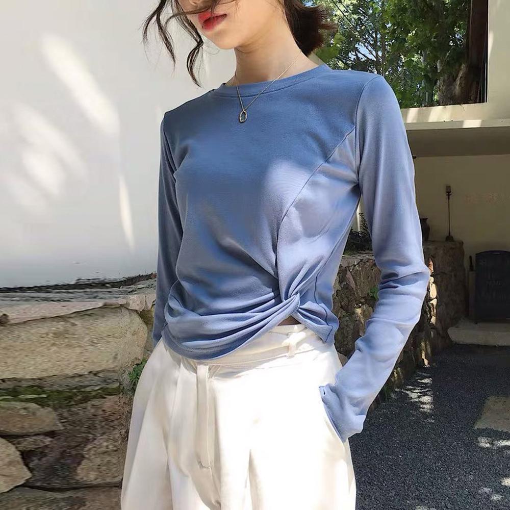 Mode-Frauen-beiläufige O-Ansatz feste Knoten Bluse Herbst Shirt lange Hülsen-dünne Tops chemisier femme blusas mujer de moda 2019 TDH