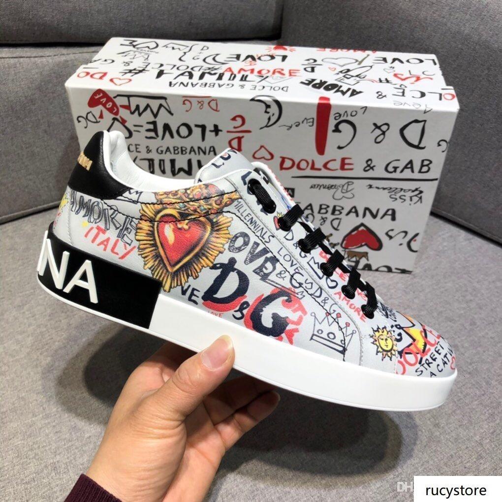 Mens 18 Designerschuhe DOLCEsGABBANAs Portofino Sneakers in gedruckter Plattform Sneaker weiß Schuhe der beiläufigen Männer Schuhgröße 38-45