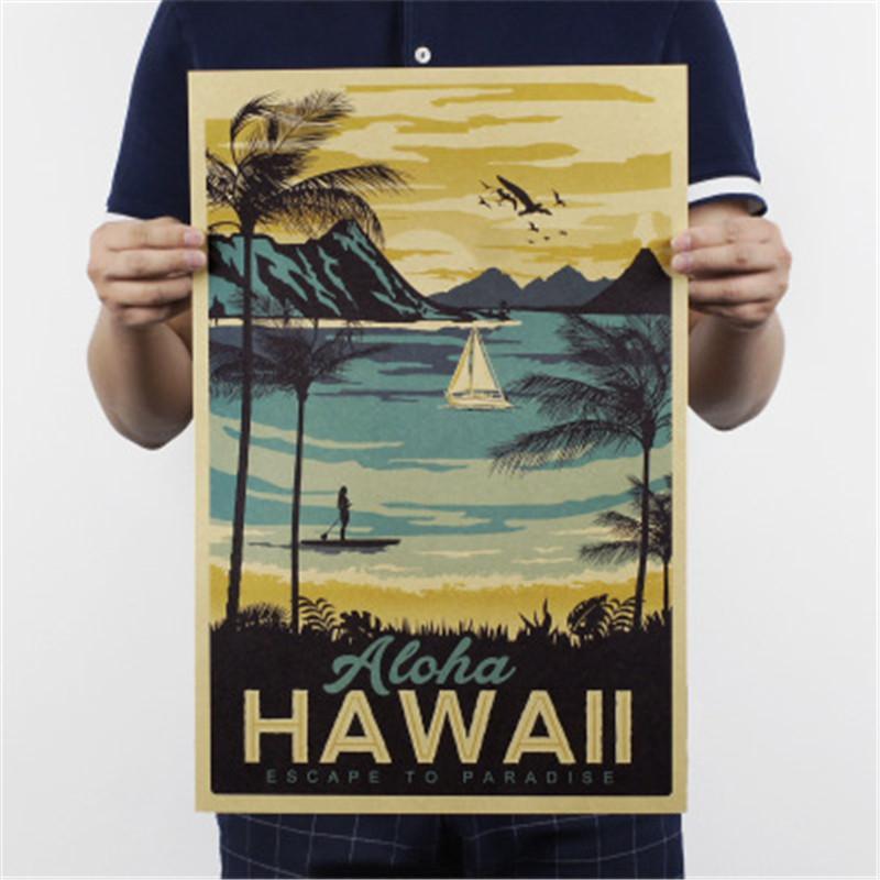 Aloha Hawaii Известный туристический пейзаж Картина Крафт бумага Бар Плакат Урожай декоративная живопись стикер стены 51x34cm