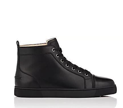 2018 Kırmızı Alt Sneaker Lüks Parti Düğün Ayakkabı Gerçek Deri Louisfalt Dikenler Dantel-up Günlük Ayakkabılar Siyah D09 Erkekler Moda Ayakkabı Tasarımları