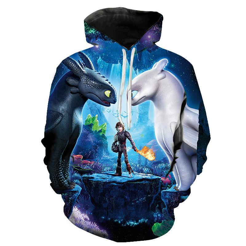 Cartoon Anime Zähmen Drachen The Hidden World 3D-Druck Hoodies Männer Frauen Kinder beiläufige kühle Sweatshirt Pullover