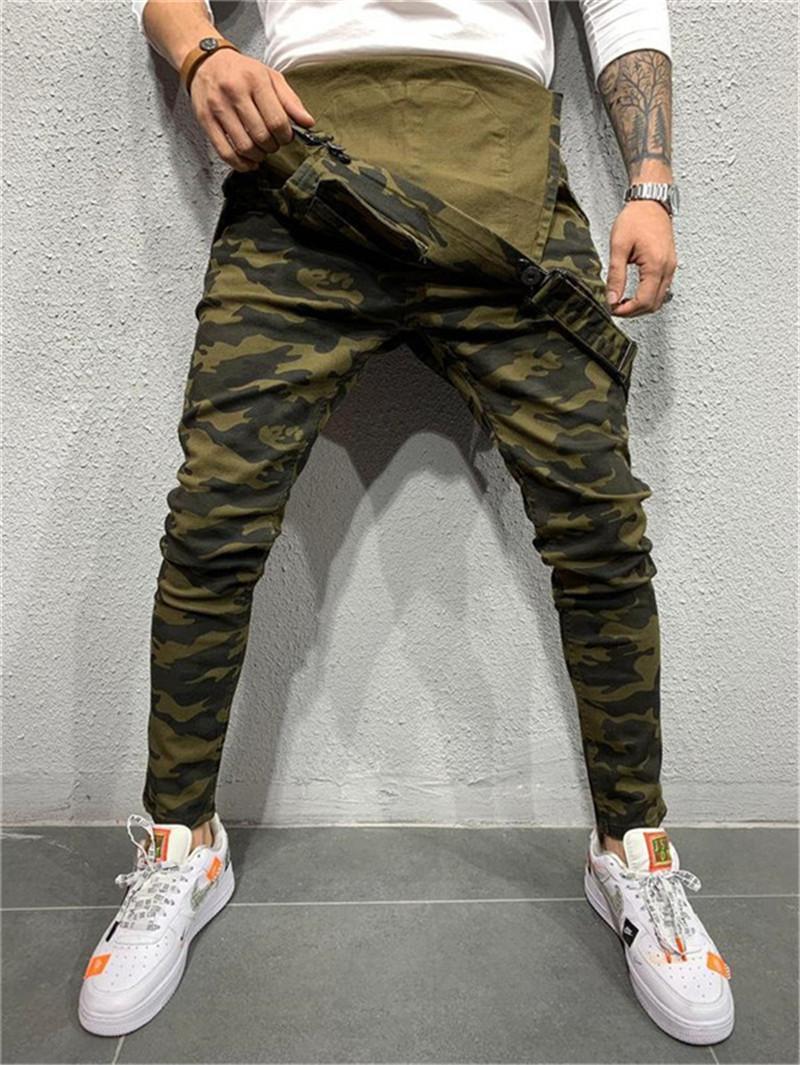Camouflage Herren Designer Jeans-beiläufige Straßen-Art Coole Taschen loser Overall Bleistift-Hosen-Mode-Männer Jeans