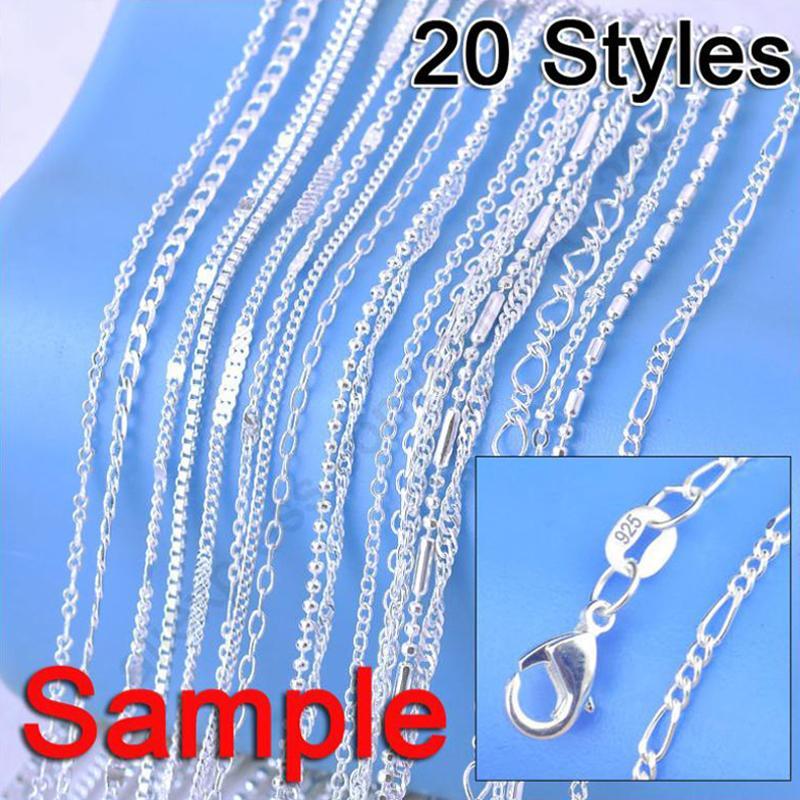 """Grande vendita ordine del campione 20Pcs Mix 20 Stili 18"""" Genuine 925 d'argento della collana di collegamento Set Catene + catenacci"""