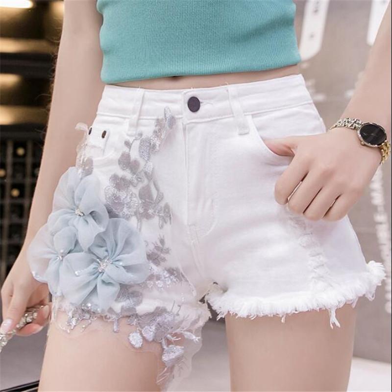 Синий Трехмерное Цветы Белые джинсы Personality Кружева Вышивка Wide Leg Denim шорты Мода Повседневная Женщины ковбой шорты