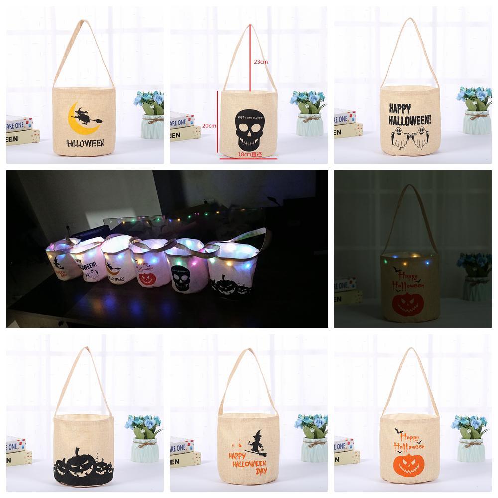 6styles Sacchetto regalo di Halloween Secchio a led per bambini Caramella Illuminazione a led Cesto regalo in tela per bambini Bomboniera bomboniere 18 * 20 cm FFA2832