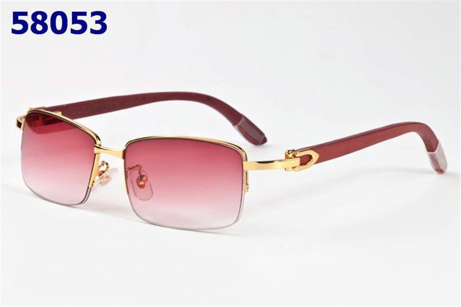유럽과 미국의 고전적인 패션 남성 명품 안경 물소 뿔 하프 프레임은 사각 렌즈 UV400 패션 브랜드 선글라스 안경