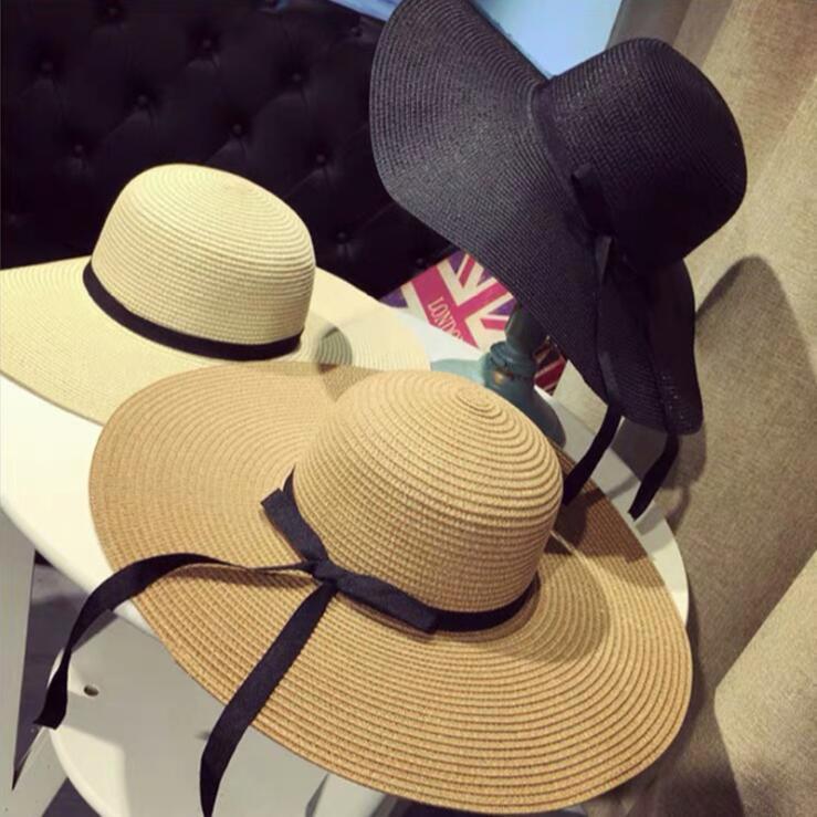الصيف القبعات الواسعة الحافة سترو كبير أحد القبعات قبعة لحماية المرأة UV بنما المرن شاطئ قبعات السيدات القوس واقية من الشمس للطي أحد قبعة