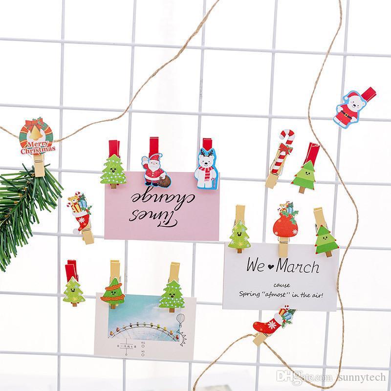 Mignon Mini Clip En Bois Couleur Parti Décoration DIY Artisanat Arts Pegs Belle Pinces Memo Papier Photo Clip De Noël Décor CT0346