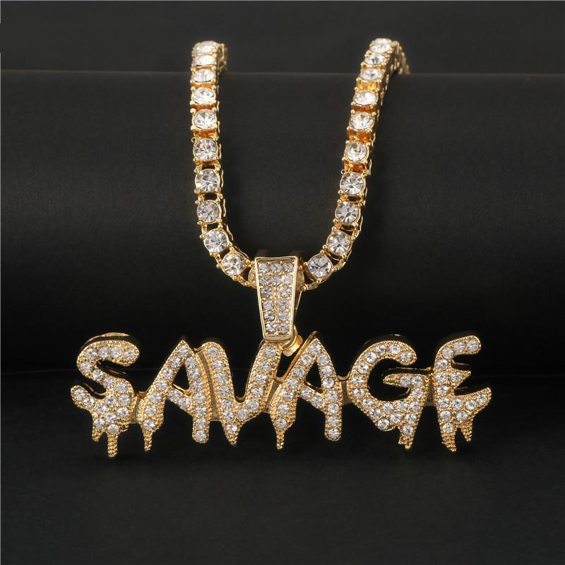 Bling Bling Savage collana Lettera lucido ghiaccio pendente Out Catena collana con catena di aggancio Tennis gioielli Hip Hop Uomo