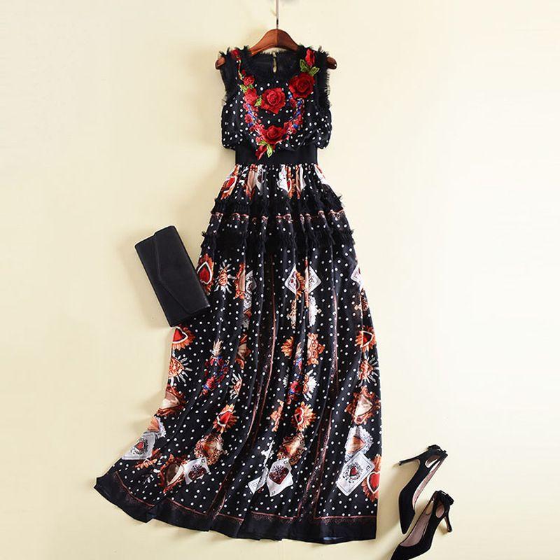 416 2019 Pist Elbise Ücretsiz Kargo İlkbahar Yaz Elbise İmparatorluğu Kolsuz Nakış Runawy Elbise Kadın OULAIDI