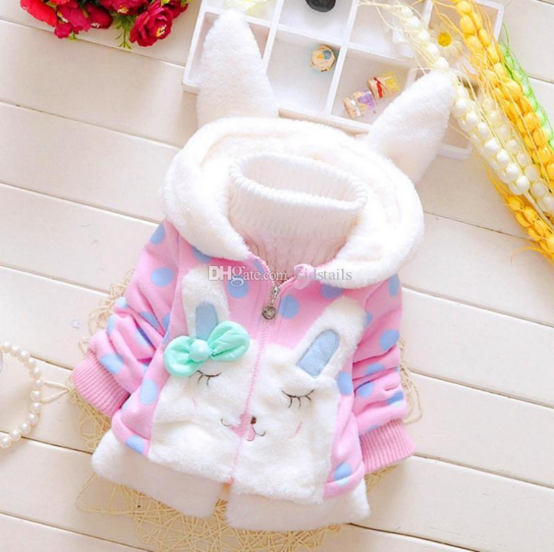 Kids Girl Coats Rabbit Ear Children Hooded Jackets Polka Dot Toddler Girls Outwear Baby Clothes Winter Warm Kids Clothing DW4572