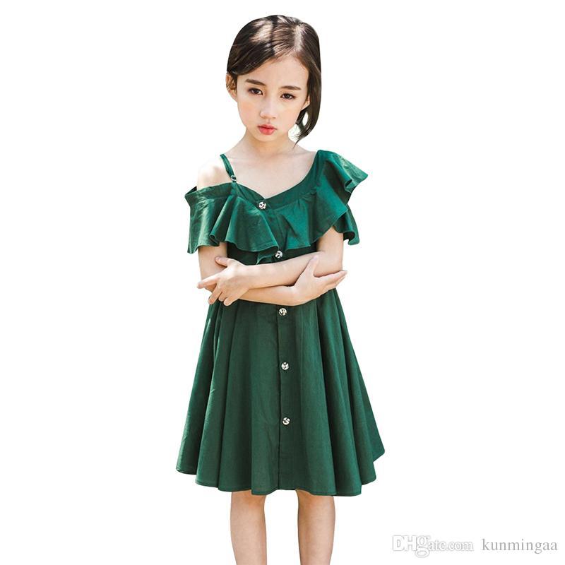Baby Girls Dress Summer Strapless strap Kids Dresses For Girls V-Neck Fashion Sundress Beach Princess party Dress