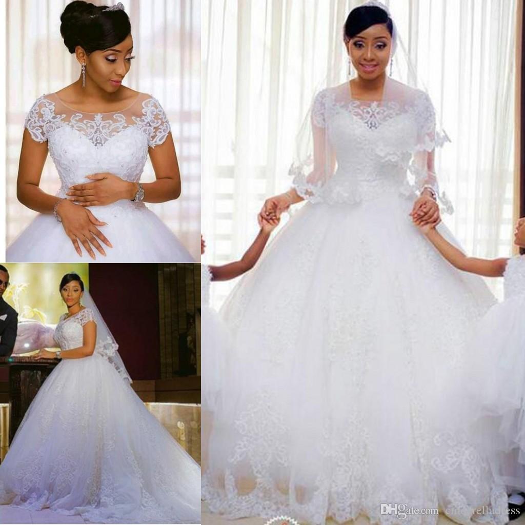 African Vintage Lace Appliques Ball Gown Wedding Dresses 2020 Short Sleeves Cheap Wedding Gowns PLus Size Bride Dresses vestido de novia
