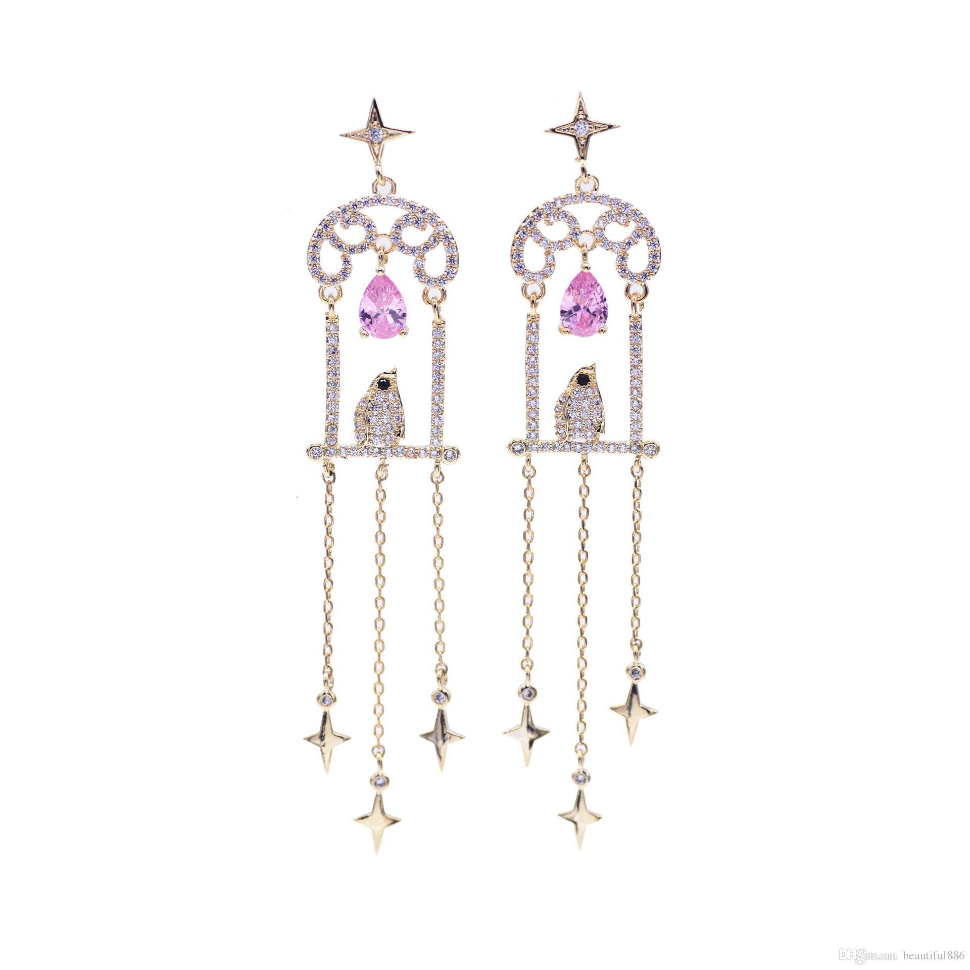 8c8b7d579 High Brand Fashion Super Long Tassel Earrings Birdcage Dangles S925 Sterling  Silver Needle Stud Earrings Super Zircon Chandelier