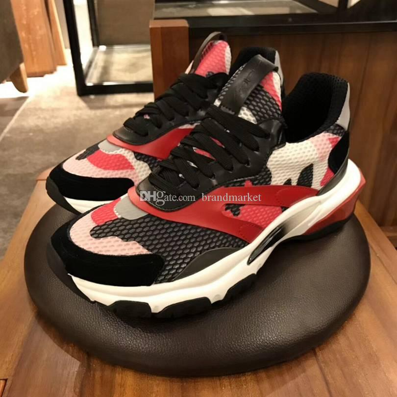 2020 New Designer Shoe Man Casual Fashion Mixed Colors Red Black Blue Mesh Leather Cheap Sneakers Drop Shipping With Box